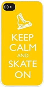 lintao diy Rikki KnightTM Keep Calm and Skate On Yellow Color Design iPhone 5 & 5s Case Cover (White Rubber with bumper protection) for Apple iPhone 5 & 5s