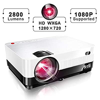 HD Projector, Artlii Portable Movie Projector LCD Home Theater Projector with 2800 Lumen, 1080P Support LED Projector with Zooming, Dolby Stereo 2 HDMI USB VGA for Movie,Video Game, Outdoor