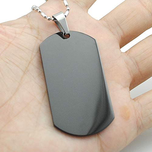 Metal Color: 38mm X 22mm, Main Stone Color: Silver Davitu Wholesale Military Army Style Silver Black Blue Gold Tone Polished Dog Tag Men Women Stainless Steel Pendant Necklace HJP07B -