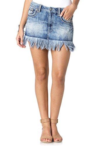 Miss Me Women's Fray Edge Denim Skirt, MK, 26 - Edge Denim Skirt