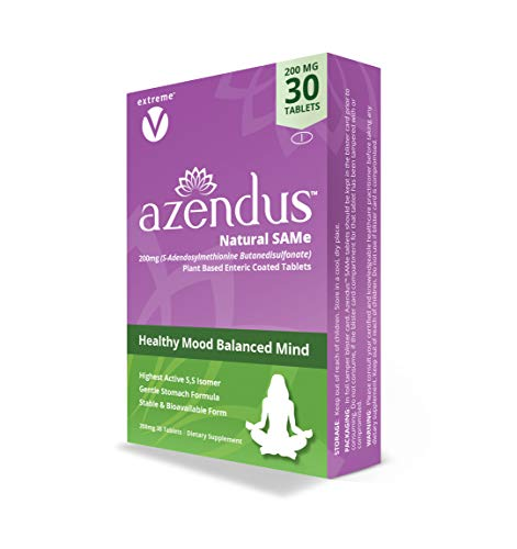 Azendus SAM-e Mood Support 200mg, 30 Count, Same Butanedisulfonate Fiber Enteric Coated Tablets, Physician Trusted, 1 Recommended Active Form
