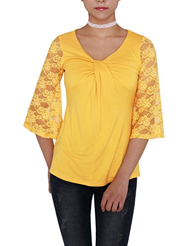[VIVALACE Womens Plus Size 3/4 Sleeve Twisted Cross Keyhole Lace Detail Lace T shirts Mustard,] (Cheerleader Outfit For Sale)