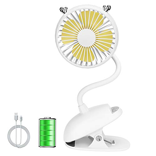Zonsk Portable Clip On Fan, Cute Deer Flexible Neck Electric Fan, Small USB Fan with Rechargeable Battery, 3 Levels Adjust Mini Fan for Stroller, Bed, Carseat, Office (White)