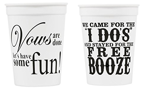 Plastic Bride and Groom Wedding Cups for Reception. Comes with 25 Cups.