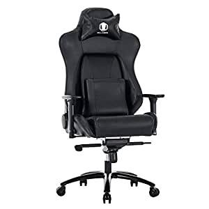 KILLABEE Big and Tall 400lb Memory Foam Gaming Chair - Adjustable Back Angle, Lumbar Support and 3D Arms Ergonomic High-Back PU Leather Racing Computer Desk Office Chair Metal Base, Black