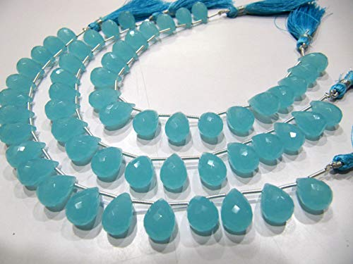 Aqua Chalcedony 10x14mm Tear Drop Shape Hydro Quartz Top Quality Gemstone Briolette Beads Strand 8 Inches