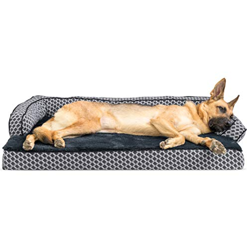 Comfy Pet Couch - FurHaven Pet Dog Bed | Cooling Gel Memory Foam Orthopedic Plush & Décor Comfy Couch Sofa-Style Pet Bed for Dogs & Cats, Diamond Gray, Jumbo