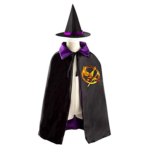 The Hunger Games Logo Kids Halloween Party Costume Cloak Wizard Witch Cape With Hat