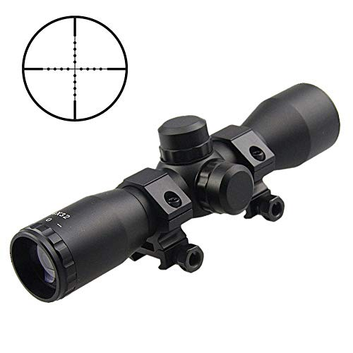 Fire Thunder Tactical 4X32 Compact Riflescopes Sports Mil Dot Reticle Hunting Scopes with Adjustable Rail Mounts