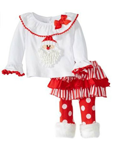 Little Girls Christmas Santa Fur Ruffle Pant Set (3T)