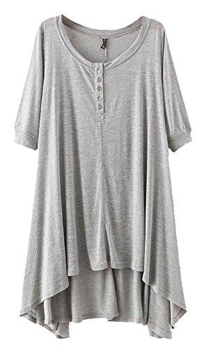 Urban GoCo Mujeres Talla Grande Camiseta con 3/4 Mangas Largas Casual Blusa Del Dobladillo Irregular Gris