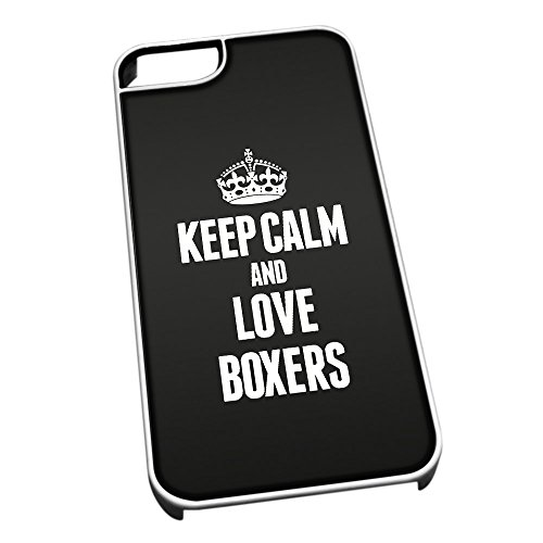 Bianco Cover per iPhone 5/5S 1984Nero Keep Calm And Love Boxer