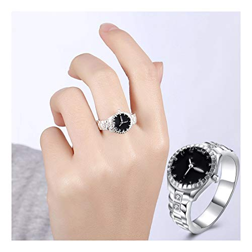 ♫VANSOON♫ Ring, 2019 New Fake Watch Rings Women Mens Dial Quartz Analog Watch Creative Steel Cool Alloy Finger Ring Size 5-9