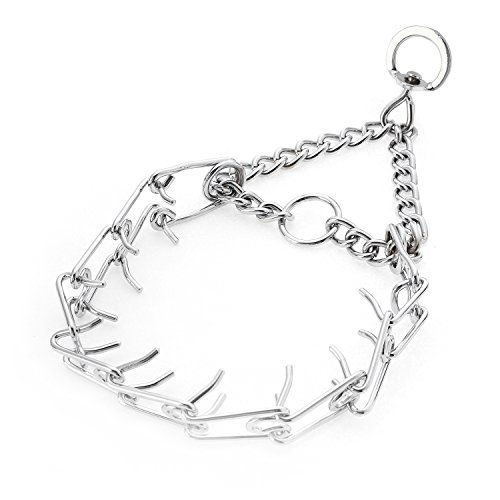 PetAZ Prong Collar for Dog Training, Adjustable Length, Heavy Metal Chrome Painted Prong Collar/ Spike Choke/ Chain (4.0mm)