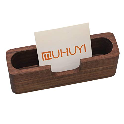 isplay Holder, Muhuyi, Wooden Name Card Stand for Office, Professional Brown Walnut Cards Case for Desk Desktop, Name Card Holder for Tables Organizer Index Card Filing ()