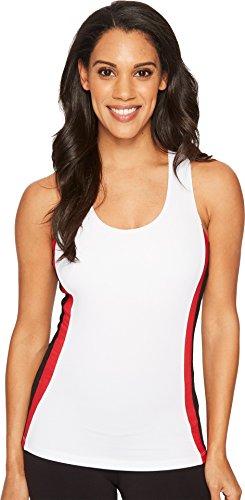 Fila Women's Heritage Racer Back Tank Shirt, White, Black, Crimson, -