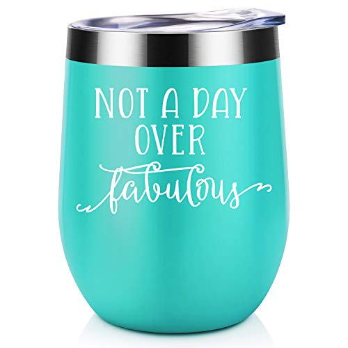 Not a Day Over Fabulous | Coolife 12 oz Stainless Steel Novelty Wine Tumbler Insulated Stemless Funny Sippy Cup with Lid and Straw | Perfect Birthday, Wedding, Christmas, Valentines Gift for Women