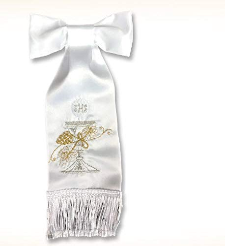 First Holy Communion White Boy Armband with Embroidered Handcrafted Accents Chalice, Grapes, IHS and Wheat Gift