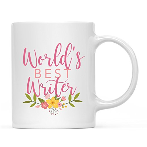 Andaz Press 11oz. Coffee Mug Gag Gift, World's Best Writer, Floral Design, 1-Pack, Beautiful Unique Flower Coffee Cup Birthday Christmas Present Ideas for Her Women Wife Sister ()
