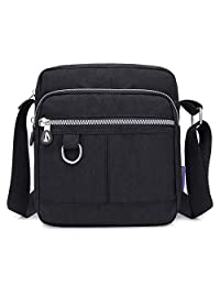 SKYRI Bolso Bandolera de Nailon Ligero Bolsas de Mensajero Gran Capacidad Impermeables con Múltiples Bolsillos Cremallera para Mujeres Shoulder Crossbody Bag Nylon Lightweight Bags for Girls (Negro)
