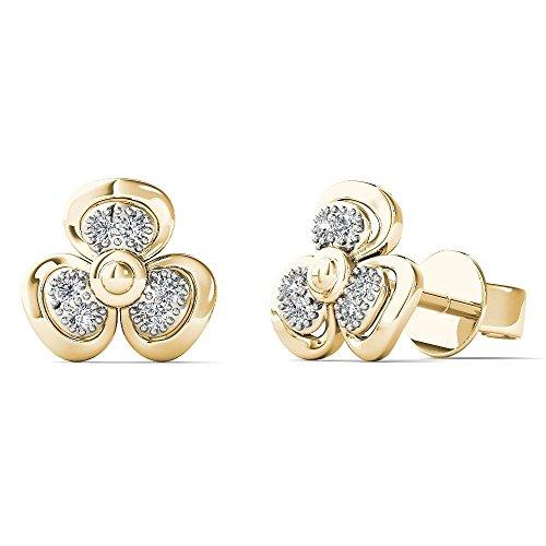 - JewelAngel Women's 10K Yellow Gold Diamond Accent Three Leaf Clover Stud Earrings (H-I, I1-I2)