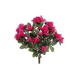 """Azalea Silk Flowers Bush in Fuchsia - 13"""" Tall - Set of 3 18"""