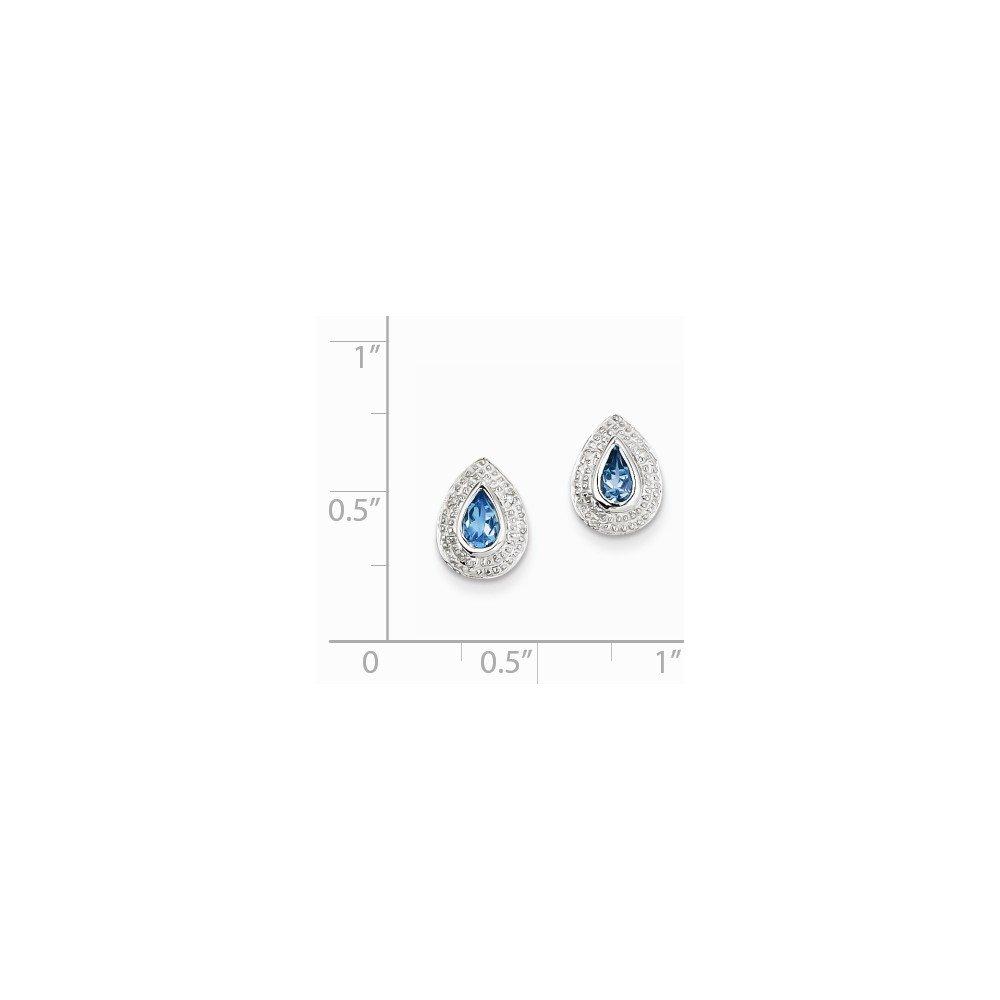 Sterling Silver Rhodium Light Swiss Blue Topaz /& Diamond Post Earrings