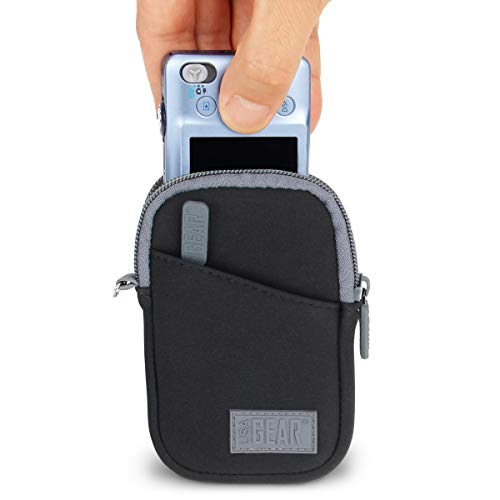USA GEAR Compact Point and Shoot Small Camera Case Bag - Compatible with Canon PowerShot ELPH 190, G9X Mark II, Nikon Coolpix A300, Sony Cybershot DSC-W830, DSC-RX100, DSC-WX220 and More - Black
