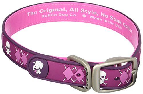 Dublin Dog Co All Style No Stink Arrrgyle Dog Collar, Pirate Punch, 17 by 21.5-Inch, Large
