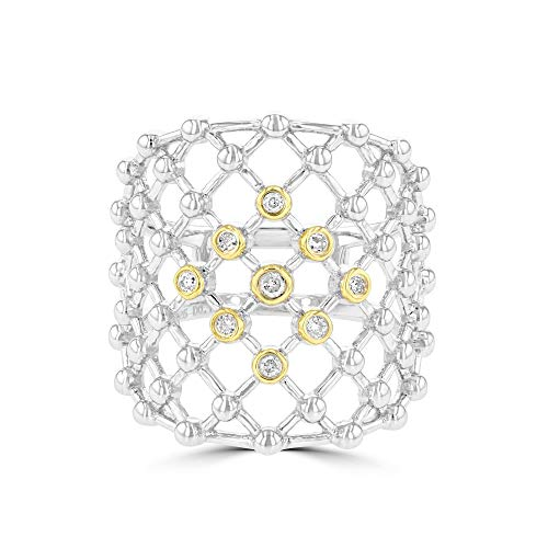 (Eleganti 925 Sterling Silver and Yellow-Gold Plated Silver Designer Ring with 0.10ct Natural Diamonds - Ring Size 6.5)