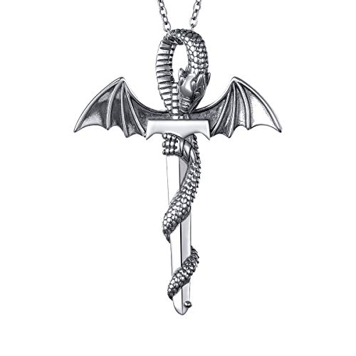 S925 Sterling Silver Punk Oxidized Vintage Dragon Wing Sword Pendant Necklace for Women Men