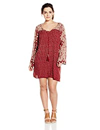 Angie Juniors' Plus-Size Red Printed Bell-Sleeve Dress