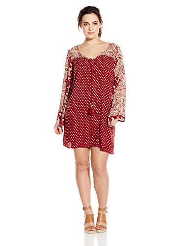 Angie Junior's Plus-Size Printed Bell Sleeve Dress, Red, 3X