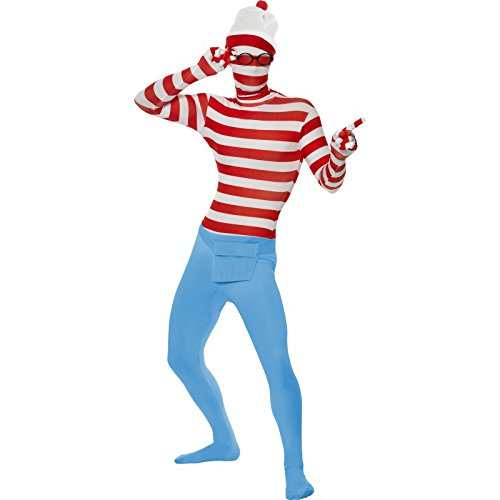 Where Wally Odlaw Costume (Smiffy's Wheres Wally Second Skin With Hat And Glasse Medium)