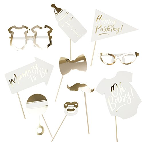 Ginger Ray OB-122 Gold Foiled Baby Shower Photo Booth Props Alternative Game Pack (10 Piece) -