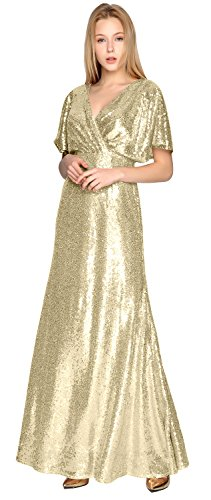 Gorgeous Gold Formal Gown Neck Light Wedding Dress V Party Bridesmaid Sleeve Short Sequin MACloth 6pwqnOdfxq