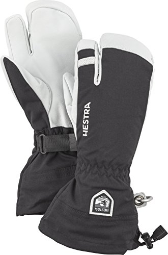 Hestra Mens and Womes Ski Gloves: Army Leather 3-Finger Winter Mitten, Black, 6