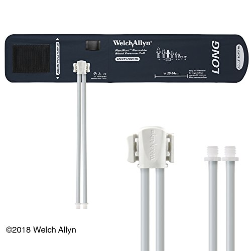 Welch Allyn REUSE-11L-2SC FlexiPort Reusable Blood Pressure Cuffs with Two-Tube Screw-Type Connectors, Adult Long, Size 11L (Reusable 2 Tube Cuff)