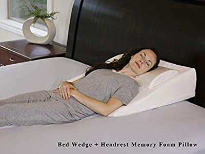 """InteVision Extra Large Foam Bed Wedge Pillow (33"""" x 30.5"""" x 7.5"""") & Headrest Pillow in ONE Package - 2"""" Memory Foam Top - Helps Relief for Acid Reflux, Post Surgery, Snoring, and Back Pain"""