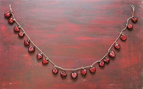 Christmas Tablescape Décor - Red heart mercury glass ornament garland