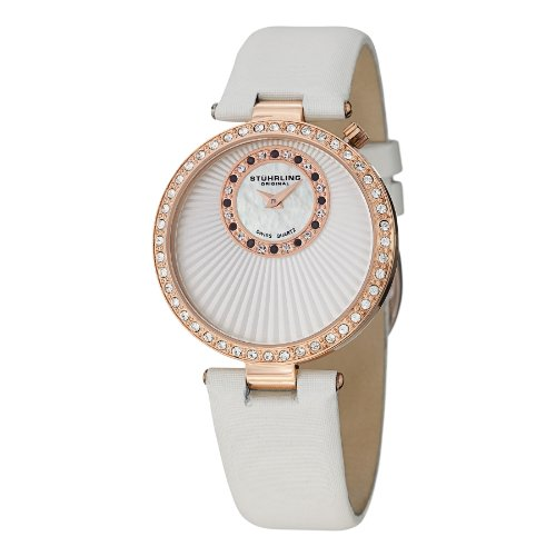 Stuhrling Original Women's 597.04 Vogue Audrey Radiance Swiss Quartz Mother-Of-Pearl Swarovski Crystal Rose Tone Watch