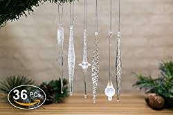Christmas Glass Handmade Icicles Ornaments Set