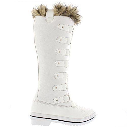 Cordones de Suede Bota Rodilla Polar Piel Zapato Altura de Blanco Mujer La Caucho Manguito xIwqAOB