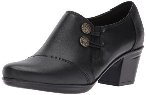 CLARKS Women's Emslie Warren Slip-on Loafer,Black Leather,9.5 M US
