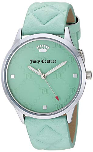 (Juicy Couture Black Label Women's JC/1081MINT Silver-Tone and Mint Green Quilted Leather Strap Watch)