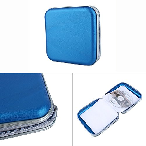 TraderPlus Portable 40 CD Disc Storage Case Bag VCD/ DVD Wallet Holder Album Box for Car, Home, Office and Travel Blue