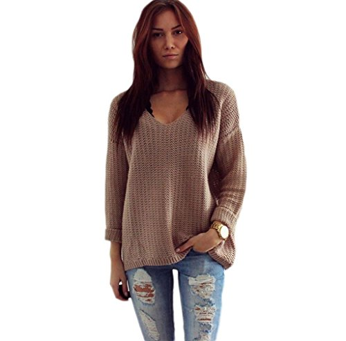 V-Neck Pullover Tops,Morecome Womens Long Sleeve Jumper Cardigan Loose Sweaters Jacket (XL)