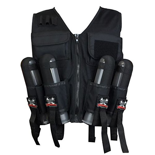 (Maddog Sports Lightweight Tactical Paintball Vest with Tank and Pod Holder Attachments - Black)