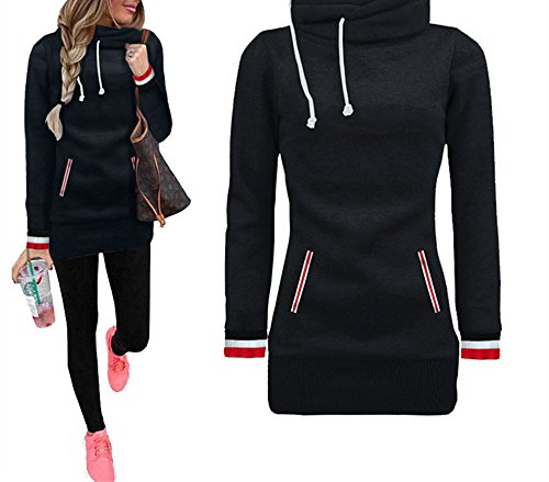 Xuan2Xuan3 Womens Long Sleeve Collar Fleece Casual Pullover Hoodies Sweatshirts Sweater Outerwear Coat Jacket Dress