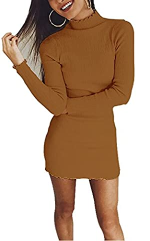 Fashions Women's Midriff With Sleeves Above The Knee Wear Scallop Comfy Thermal Sweater Spring Spandex Dinner Dress Yellow - Lycra Turtleneck Dress